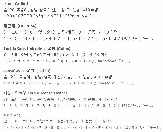 굴림과 고정폭 글꼴들의 가운뎃점 (굴림체, Lucida Sans Unicode+굴림, Consolas+굴림, 나눔고딕코딩, HY중고딕)