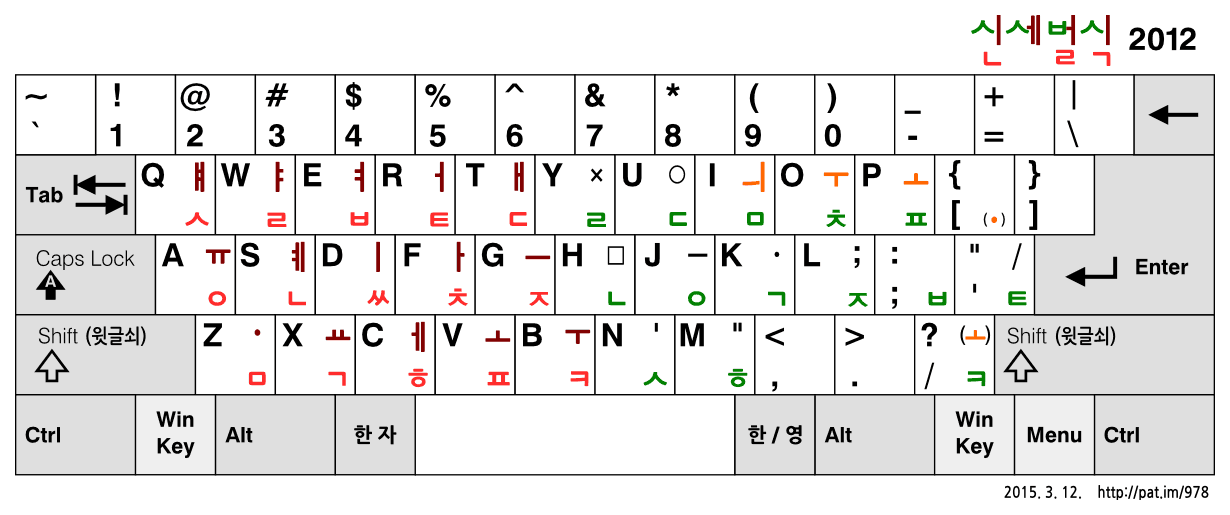 신세벌식 2012 자판 (2015.3.12. 수정안)
