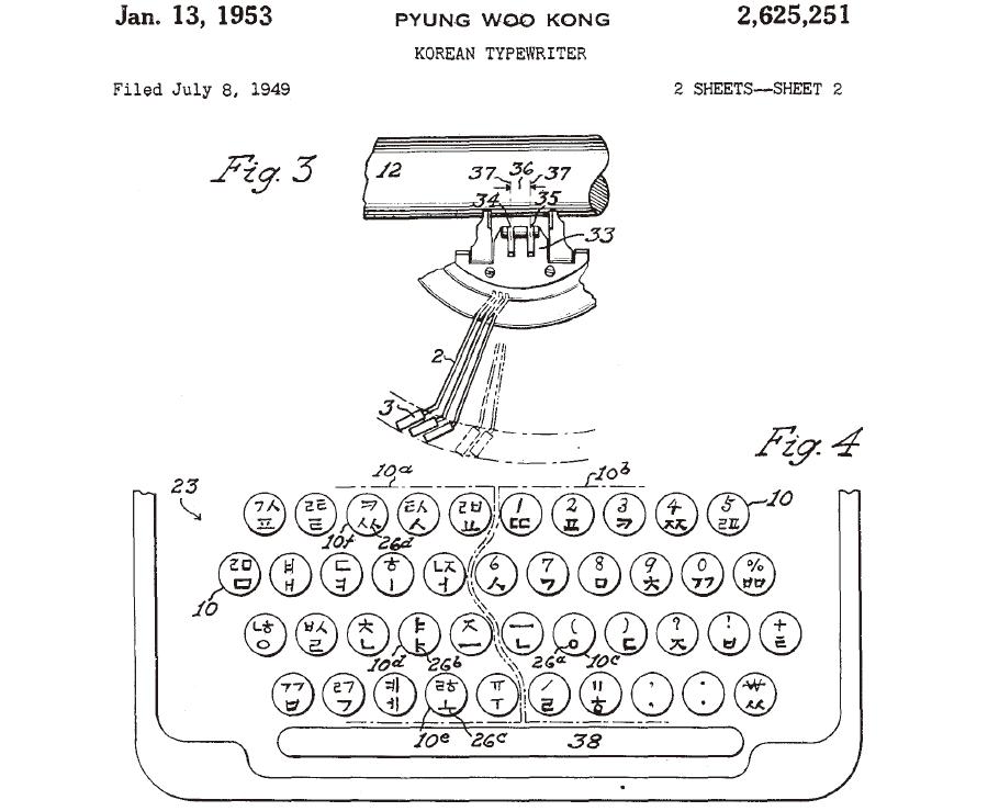 공병우 타자기 미국 특허 문서에 나온 자판 배열