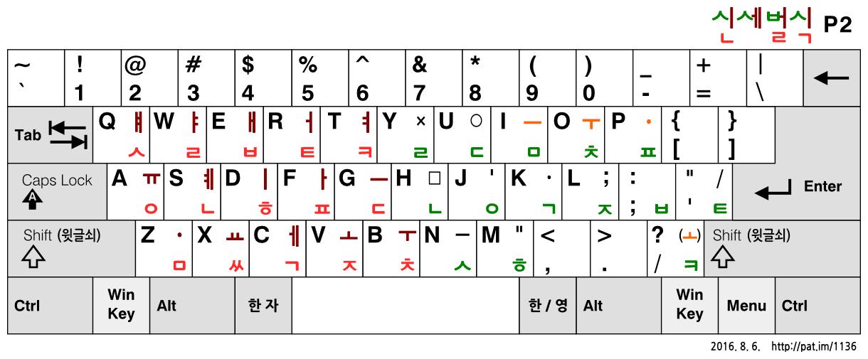 신세벌식 P2 자판 (2016.8.6. 옛 기본 배열)