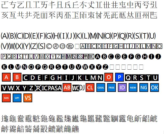다국어 보충 평면(SMP)와 상형 문자 보충 평면(SIP)에 들어가는 한중일 통합 한자와 기호들