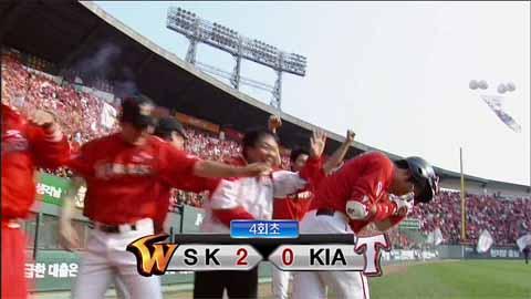 박정권 4회초 홈런 뒤