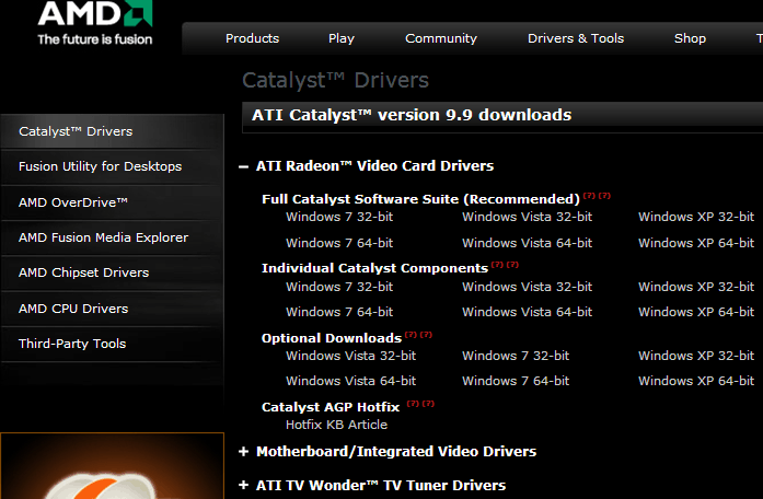 ATI Catalyst version 9.9 Driver