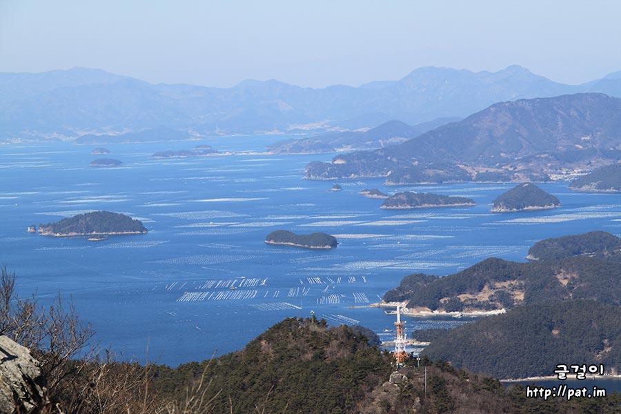 통영 미륵산에서 바라본 바다 풍경 (필도, 장구도, 장도, 목섬 쪽) - ②