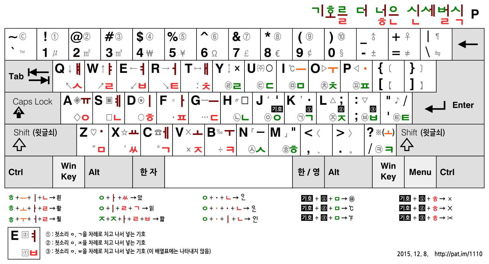 신세벌식 P (기호 및 겹받침 확장 배열)