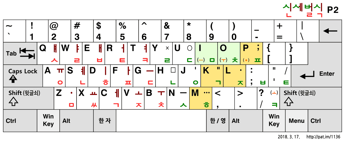 신세벌식 P2 (2018, 2차 수정안)