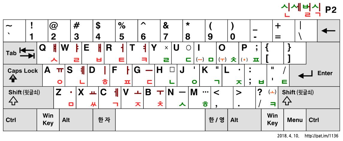 신세벌식 P2 자판 (기본 배열)