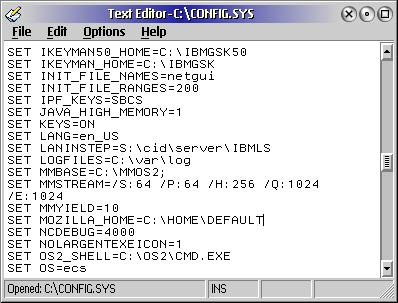 OS/2 eComstation 편집기 화면 (config.sys)