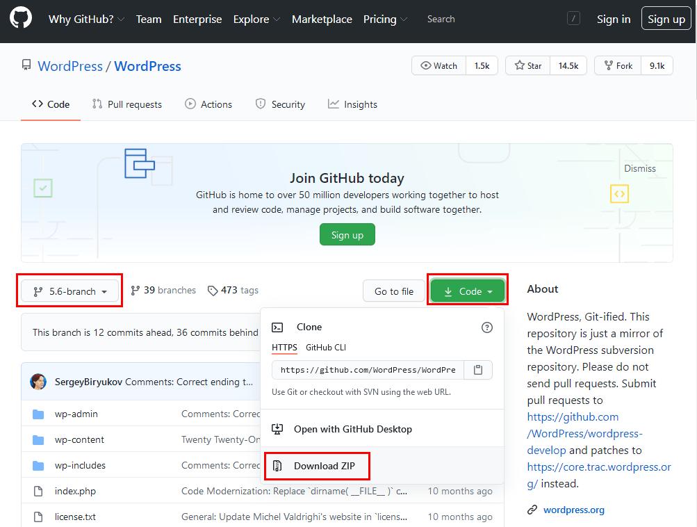 Github 저장소에서 워드프레스 5.6 가지(branch) 파일 받기