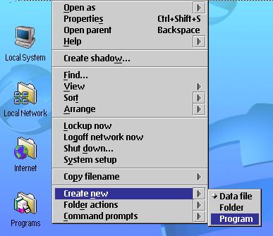 단축 쪽그림을 만드는 OS/2 eComstation 차림표