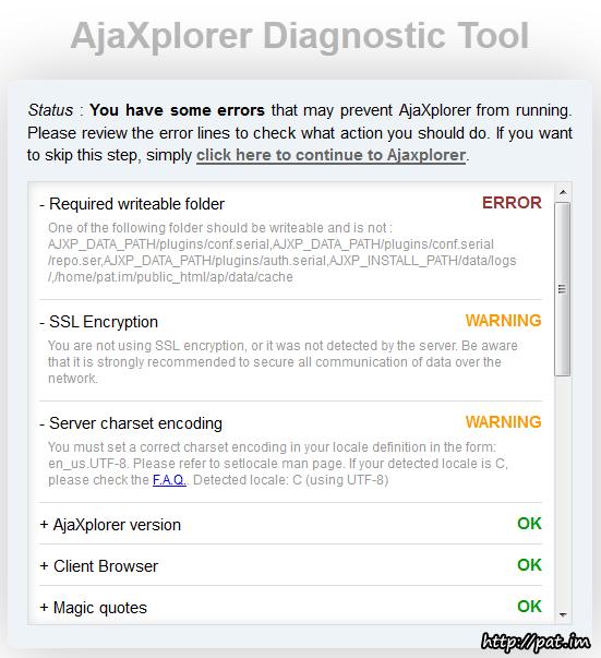쓰기 권한 때문에 오류가 뜬 AjaXplorer 진단 도구 화면