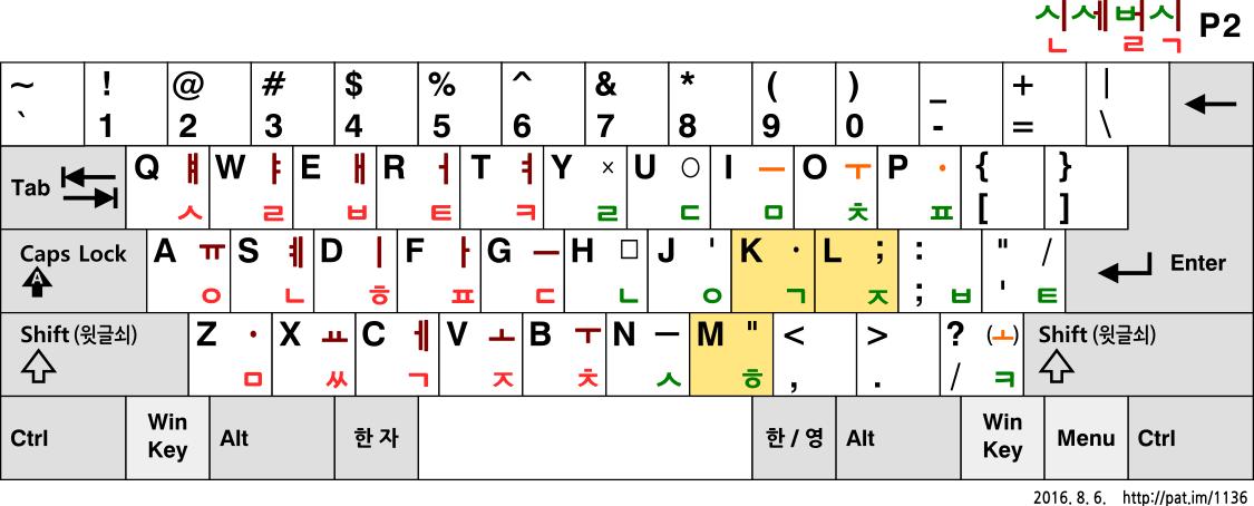 신세벌식 P2 (2016, 본래 배열)