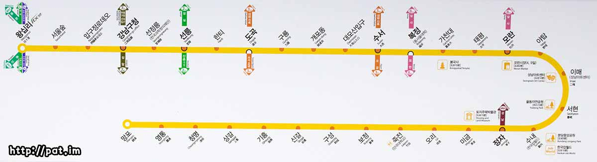 분당선 지하철 노선도 (2012.12.1)